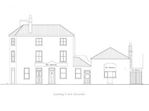 Architect drawing Littlehampton Sussex existing front elevation